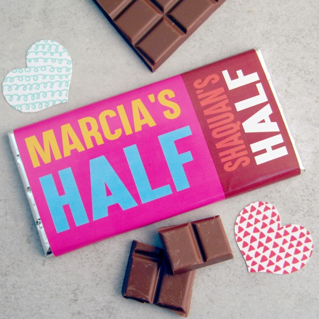 Hampers and Gifts to the UK - Send the Personalised Chocolate Bar Half and Half