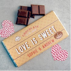 Hampers and Gifts to the UK - Send the Personalised Chocolate Bar Love Is Sweet