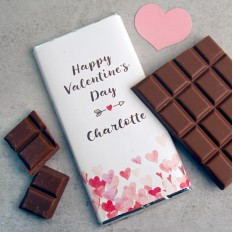 Hampers and Gifts to the UK - Send the Personalised Happy Valentine's Day Chocolate Bar