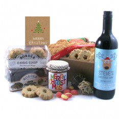 Hampers and Gifts to the UK - Send the Biscuit Favourites - MERRY CHRISTMAS Personalised Wine