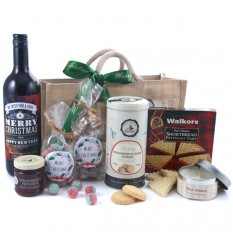 Hampers and Gifts to the UK - Send the Merry Christmas Traditional Personalised Red Wine and Candle