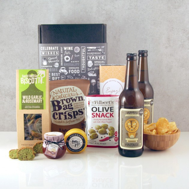 Hampers and Gifts to the UK - Send the Cider and Savouries Hamper