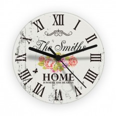 Hampers and Gifts to the UK - Send the Personalised Shabby Chic Floral Glass Clock