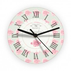 Hampers and Gifts to the UK - Send the Personalised Vintage Rose Glass Clock