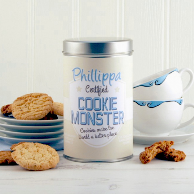 Hampers and Gifts to the UK - Send the Personalised Cookie Monster Tin