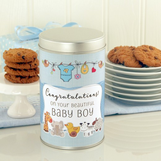 Hampers and Gifts to the UK - Send the Beautiful New Baby Boy Cookie Tin