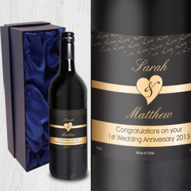 Hampers and Gifts to the UK - Send the Personalised Couples Red Wine