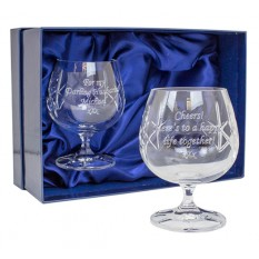 Hampers and Gifts to the UK - Send the Personalised Cut Crystal Brandy Glasses