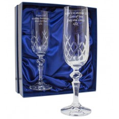 Hampers and Gifts to the UK - Send the Personalised Cut Crystal Champagne Flutes