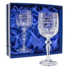 Hampers and Gifts to the UK - Send the Personalised Cut Crystal Wine Glasses