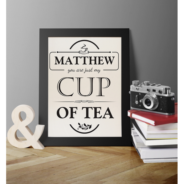 Hampers and Gifts to the UK - Send the Personalised Just my Cup of Tea Framed Print