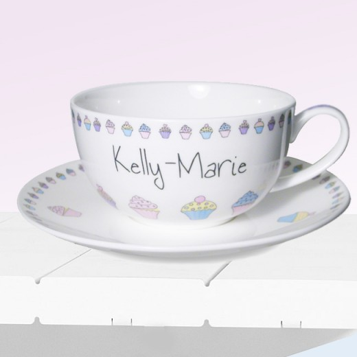 Hampers and Gifts to the UK - Send the Personalised Pretty as a Cupcake Cup and Saucer