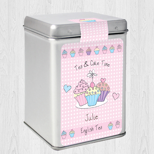 Hampers and Gifts to the UK - Send the Personalised Tea Caddy Cupcakes