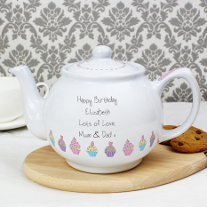 Hampers and Gifts to the UK - Send the Personalised Pretty As a Cupcake Teapot