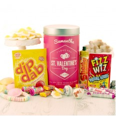 Hampers and Gifts to the UK - Send the Valentines Day Retro Sweets Personalised Tin