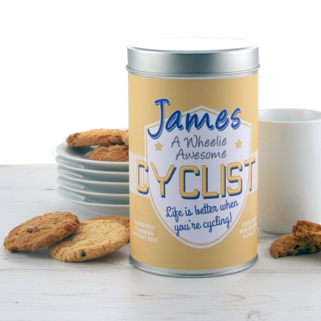 Hampers and Gifts to the UK - Send the Wheelie Awesome Cyclist Cookie Tin