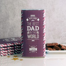 Hampers and Gifts to the UK - Send the Best Dad In The World Chocolate Bar