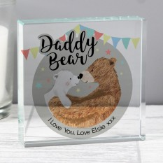 Hampers and Gifts to the UK - Send the Personalised Daddy Bear Crystal Token