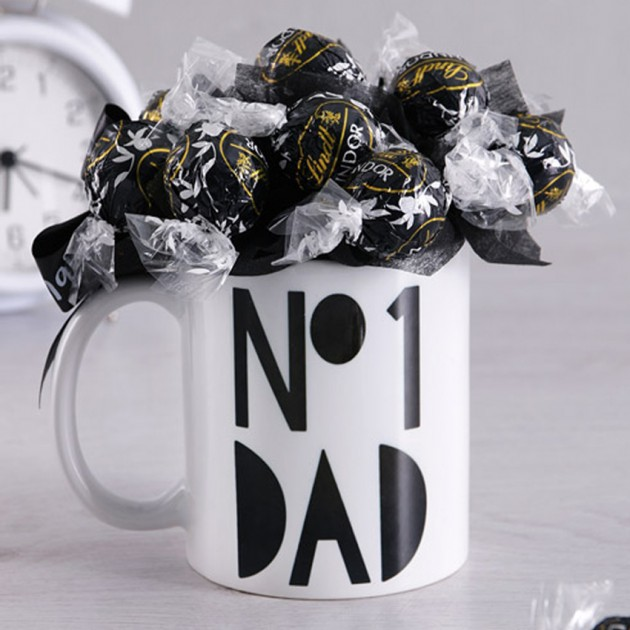 Hampers and Gifts to the UK - Send the No.1 Dad Lindor Dark Chocolate Truffles Mug Bouquet