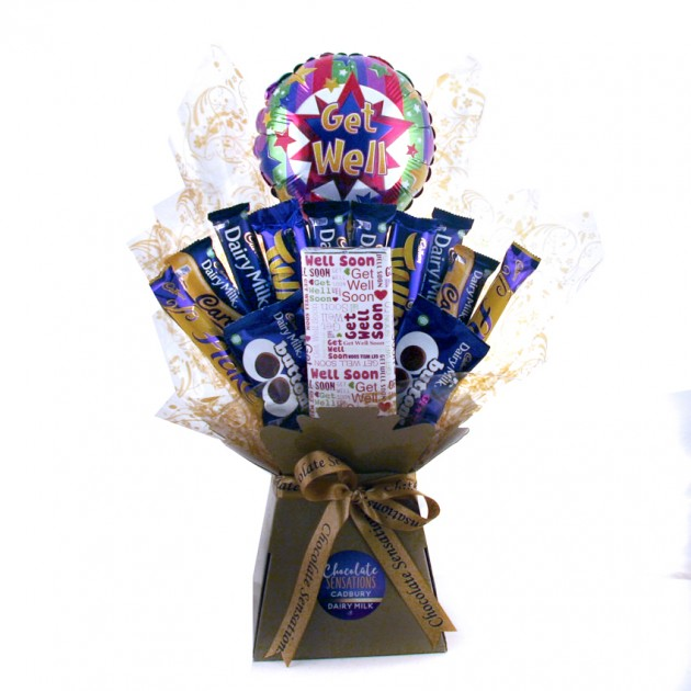 Hampers and Gifts to the UK - Send the Get Well Soon Dairy Milk Chocolate Bouquet