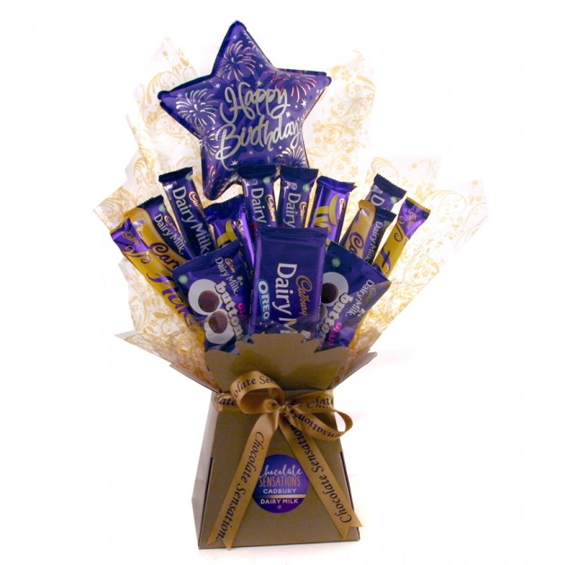 Hampers and Gifts to the UK - Send the Happy Birthday Star Dairy Milk Chocolate Bouquet