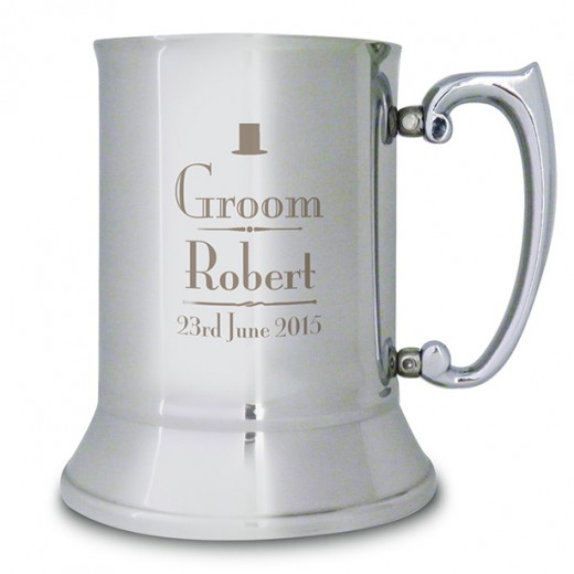 Hampers and Gifts to the UK - Send the Personalised Groom Stainless Steel Tankard