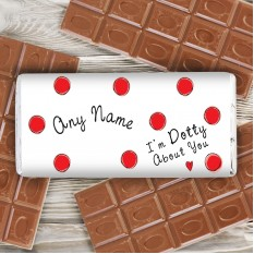 Hampers and Gifts to the UK - Send the Personalised Chocolate Bar Dotty About You