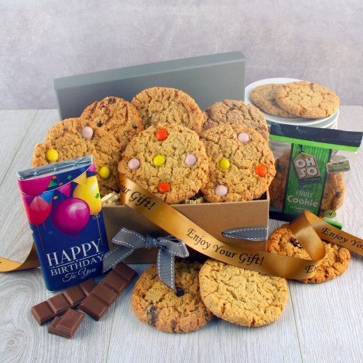 Hampers and Gifts to the UK - Send the Happy Birthday Cookies Gift Box - Luxury
