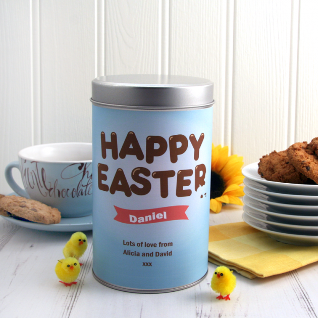 Hampers and Gifts to the UK - Send the Personalised Happy Easter Cookie Tin
