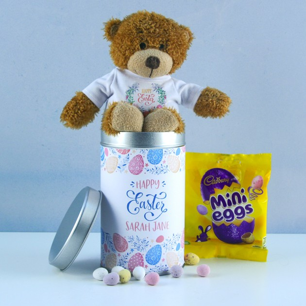 Hampers and Gifts to the UK - Send the Personalised Happy Easter Teddy In a Tin