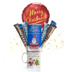 Hampers and Gifts to the UK - Send the A Merry Christmas and Happy New Year Mug Bouquet