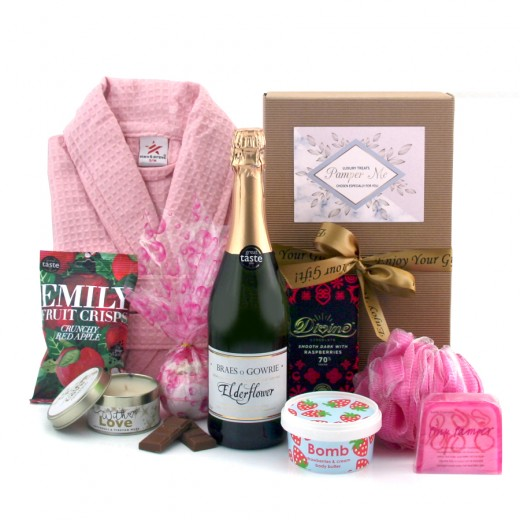 Hampers and Gifts to the UK - Send the Raspberries and Cream Pink Pamper Hamper