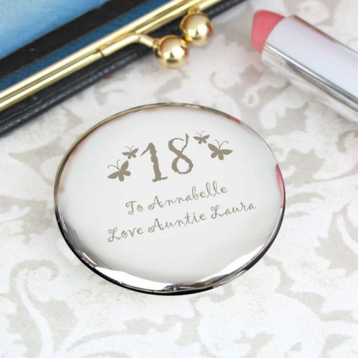 Hampers and Gifts to the UK - Send the Butterfly Compact Mirror Personalised with Any Age