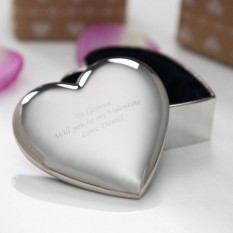Hampers and Gifts to the UK - Send the Silver Heart Trinket Box Engraved