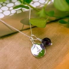 Hampers and Gifts to the UK - Send the Silver Personalised Initial Letter Amethyst Necklace