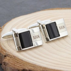 Hampers and Gifts to the UK - Send the Personalised Black Onyx Cufflinks