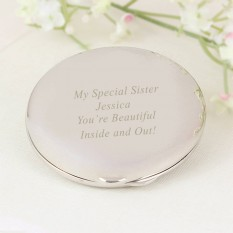 Hampers and Gifts to the UK - Send the Personalised Silver Compact Mirror