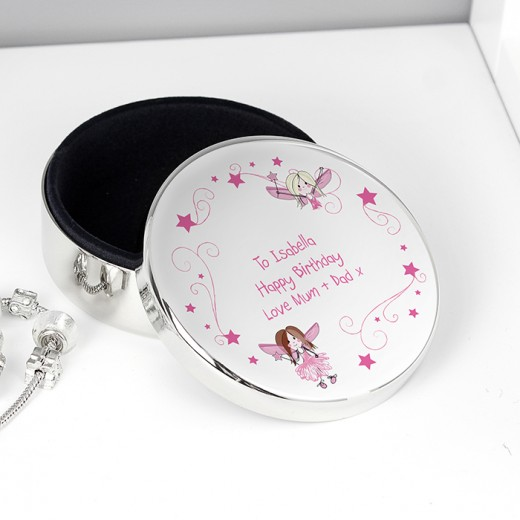 Hampers and Gifts to the UK - Send the Personalised Silver Fairy Trinket Box