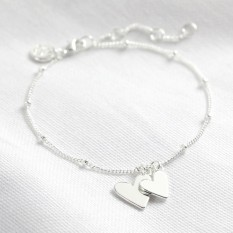 Hampers and Gifts to the UK - Send the Silver Falling Heart Charms Bracelet