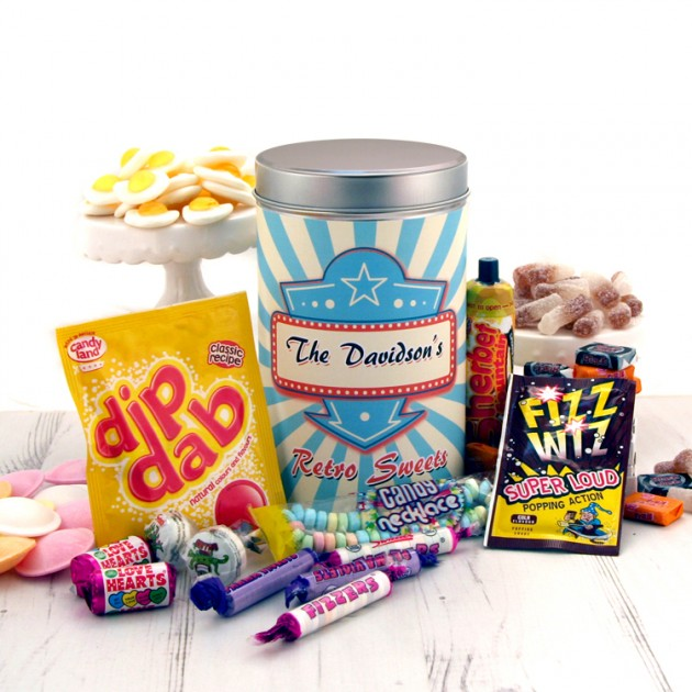 Hampers and Gifts to the UK - Send the Personalised Retro Sweets Tin Any Name