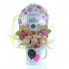 Hampers and Gifts to the UK - Send the Hugs & Kisses Ferrero Rocher Mug Bouquet