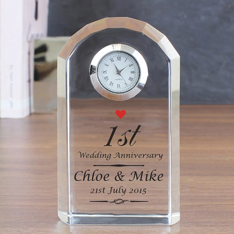 Wedding Clock Gift: Personalised 1st Anniversary Crystal Clock With Heart Motif