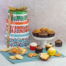 Hampers and Gifts to the UK - Send the Cookies and Cupcakes Tin Tower