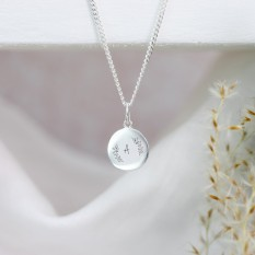 Hampers and Gifts to the UK - Send the Engraved Flower and Initial Disc Necklace
