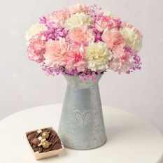 Hampers and Gifts to the UK - Send the Carnation Bouquet with Chocolate Cake