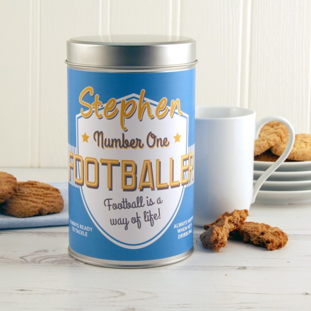 Hampers and Gifts to the UK - Send the No.1 Footballer Cookie Tin Personalised