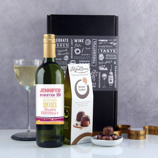 Hampers and Gifts to the UK - Send the  Personalised  Forever 29 Birthday Wine Gift