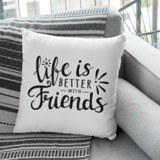 Hampers and Gifts to the UK - Send the Life Is Better With Friends Cushion
