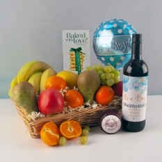 Hampers and Gifts to the UK - Send the New Baby Boy Wine and Cheese Fruit Basket