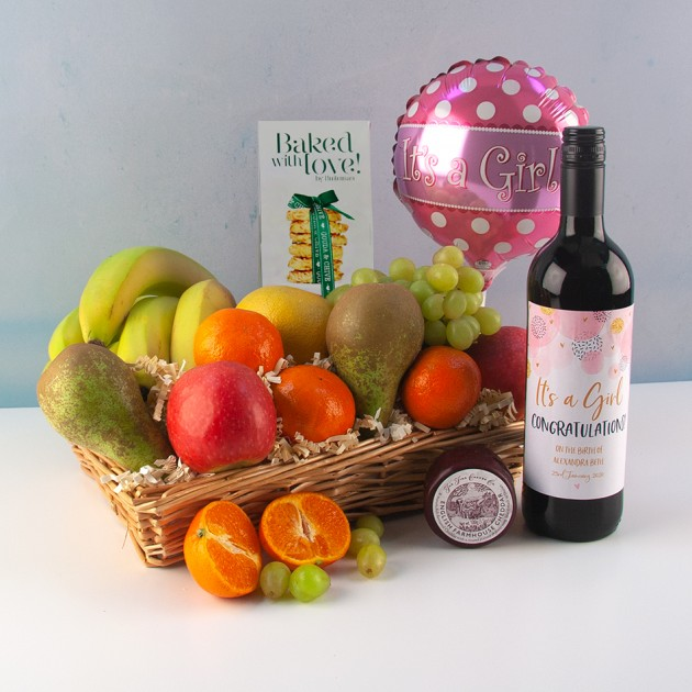 Hampers and Gifts to the UK - Send the New Baby Girl Wine and Cheese Fruit Basket